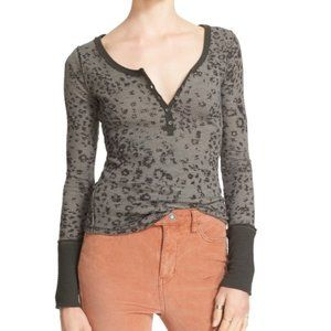 FREE PEOPLE Davis Thermal Henley Cheetah Leopard